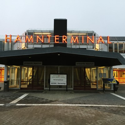 Neon sign. Hamnterminal. Visby harbour